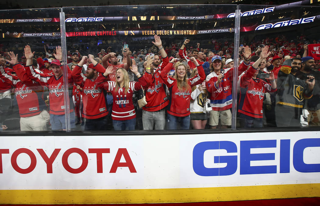 Washington Capitals fans celebrate their team's win over the Golden Knights in Game 5 to win the Stanley Cup Final at T-Mobile Arena in Las Vegas on Thursday, June 7, 2018. Chase Stevens Las Vegas ...