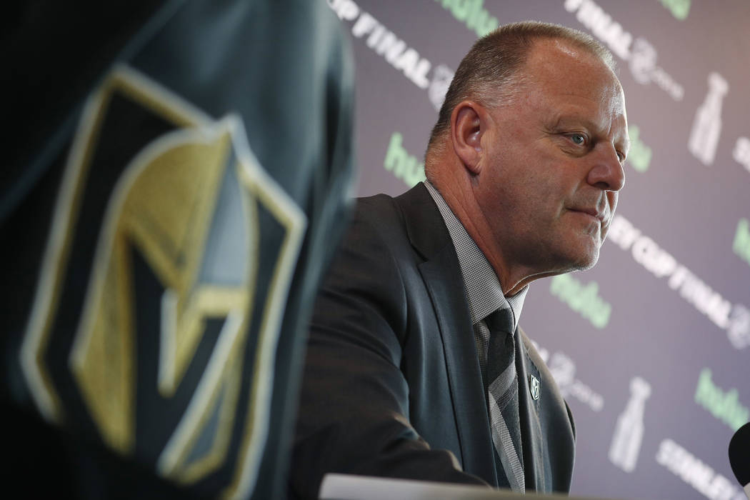 Vegas Golden Knights head coach Gerard Gallant listens during an NHL hockey media day for the Stanley Cup, Sunday, May 27, 2018, in Las Vegas. (AP Photo/John Locher)