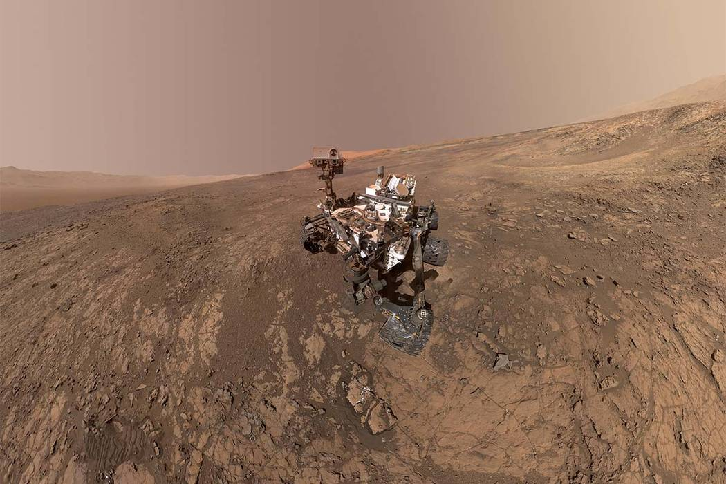 This composite image made from a series of Jan. 23, 2018, photos shows a self-portrait of NASA's Curiosity Mars rover on Vera Rubin Ridge. On Thursday, June 7, 2018, scientists said the rover foun ...