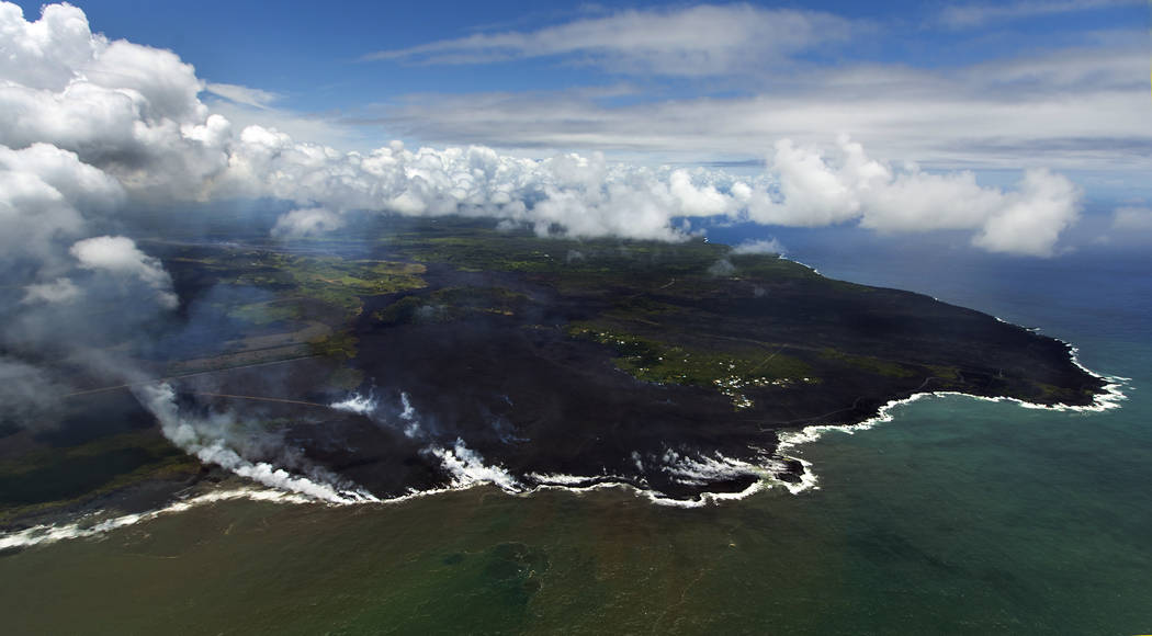 Most of the Kapoho area including the tide pools is now covered in fresh lava with few properties still intact as the Kilauea Volcano lower east rift zone eruption continues on Wednesday June 6
