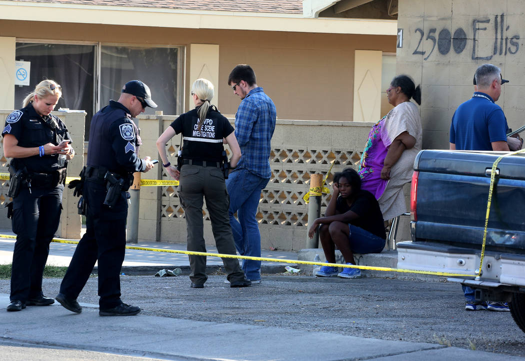 North Las Vegas police are investigating a triple shooting that left one man dead in the 2500 block of Ellis Street, on Friday, June 8, 2018. (Bizuayehu Tesfaye/Las Vegas Review-Journal) @bizutesfaye
