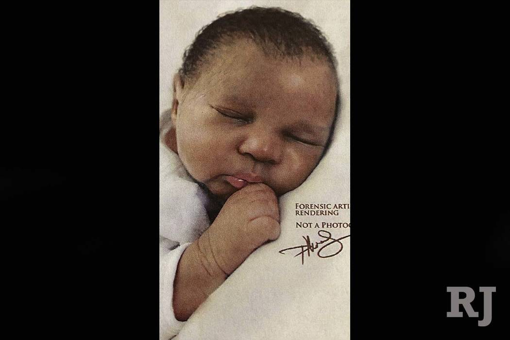 This artist rendering made available by the Palm Beach County Sheriff's Office shows the likeness of a baby girl that was found floating off the Florida coast, Friday, June 1, 2018. (Palm Beach C ...