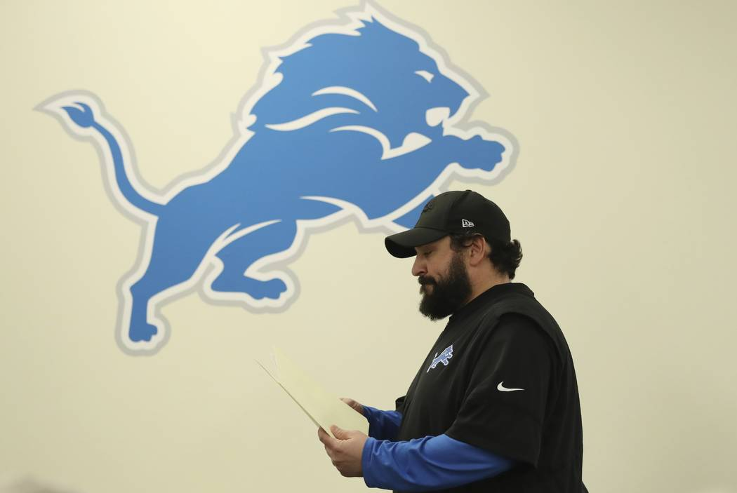 Detroit Lions head coach Matt Patricia leaves a news conference at the team's football training facility, Thursday, May 10, 2018, in Allen Park, Mich. Patricia addressed the 1996 sexual assault al ...