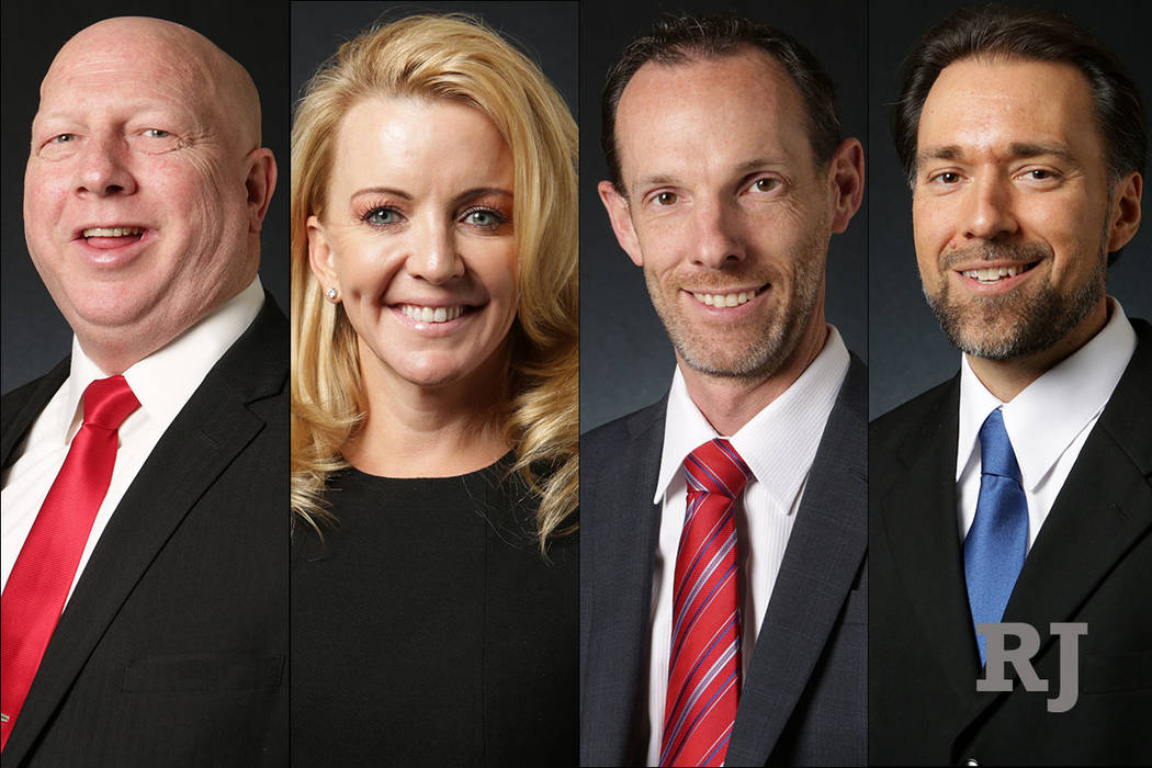 Candidates for Clark County Commission District F, from left: Mitchell Tracy, Tisha Black, Justin Jones and Jason Hunt. (Las Vegas Review-Journal)