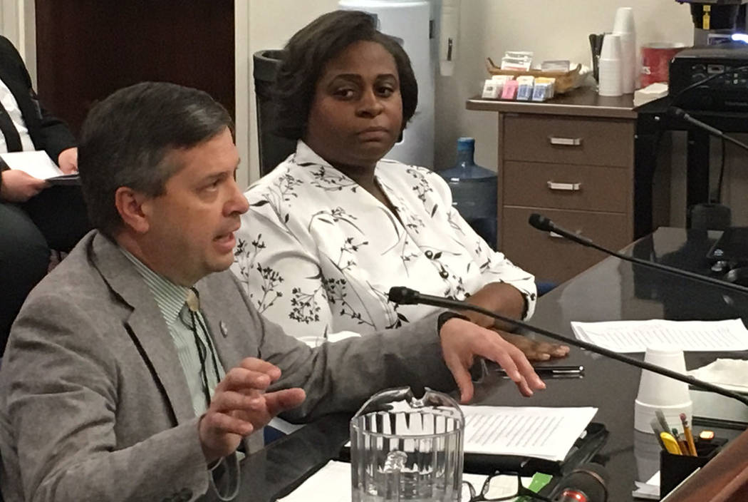 University Regents Jason Geddes and Allison Stephens, seen during a hearing on Thursday, March 2, 2017, in Carson City. (Sean Whaley/Las Vegas Review-Journal)