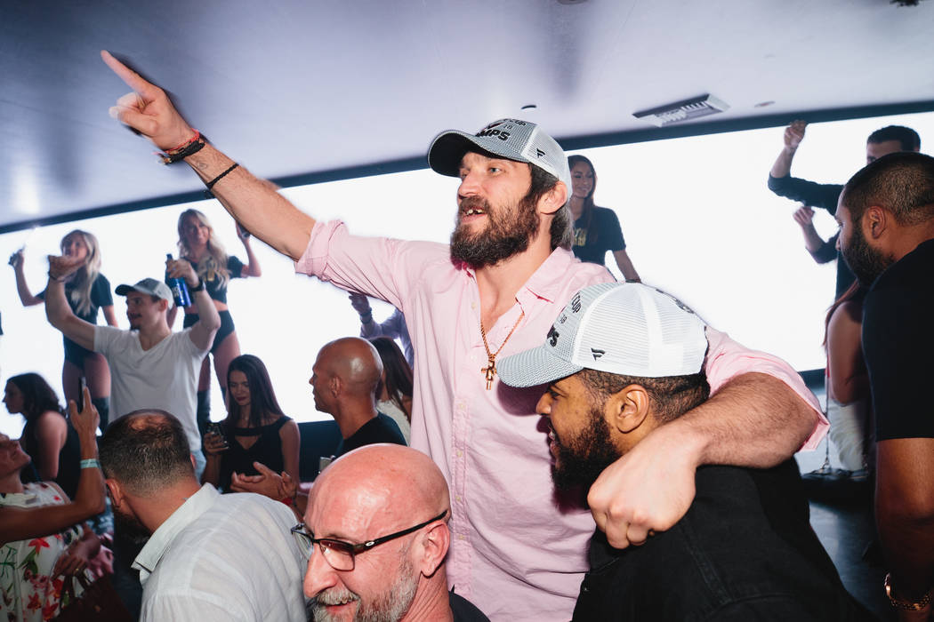 Washington Capitals star Alex Ovechkin is shown at Hakkasan Nightclub at MGM Grand after the Caps' Stanley Cup Final victory over the Vegas Golden Knights on June 7, 2018. (Joe Janet)