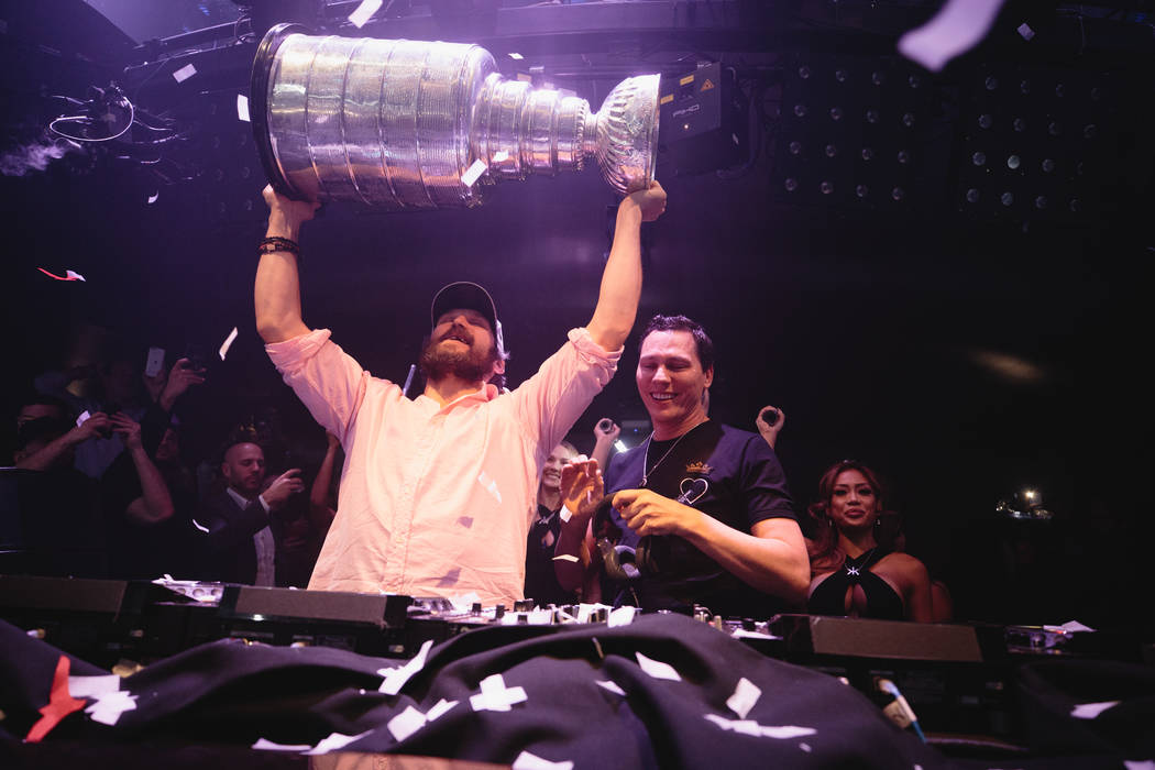 Washington Capitals star Alex Ovechkin and EDM star Tiesto are shown at Hakkasan Nightclub at MGM Grand after the Caps' Stanley Cup Final victory over the Vegas Golden Knights on June 7, 2018. (Jo ...