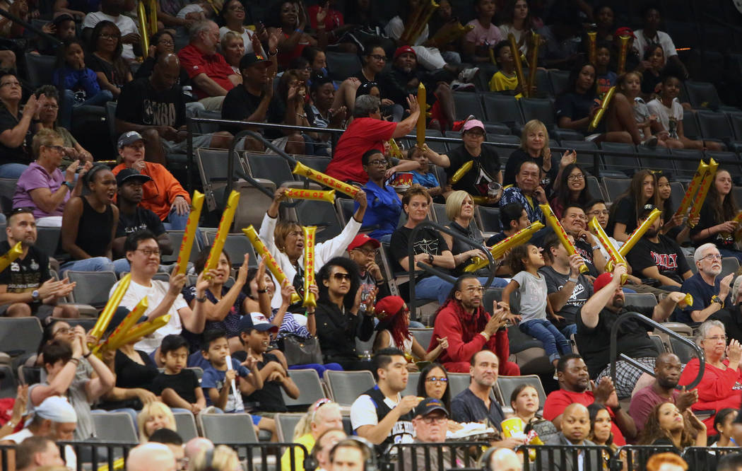 Fans watch a WNBA basketball game between Las Vegas Aces and Atlanta Dream at the Mandalay Bay Event Center in Las Vegas on Friday, June 8, 2018. Bizuayehu Tesfaye/Las Vegas Review-Journal @bizute ...