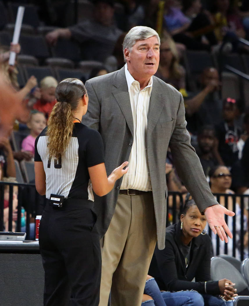 Las Vegas Aces head coach Bill Laimbeer argues with official in the first half of a WNBA basketball game against Atlanta Dream at the Mandalay Bay Event Center in Las Vegas on Friday, June 8, 2018 ...