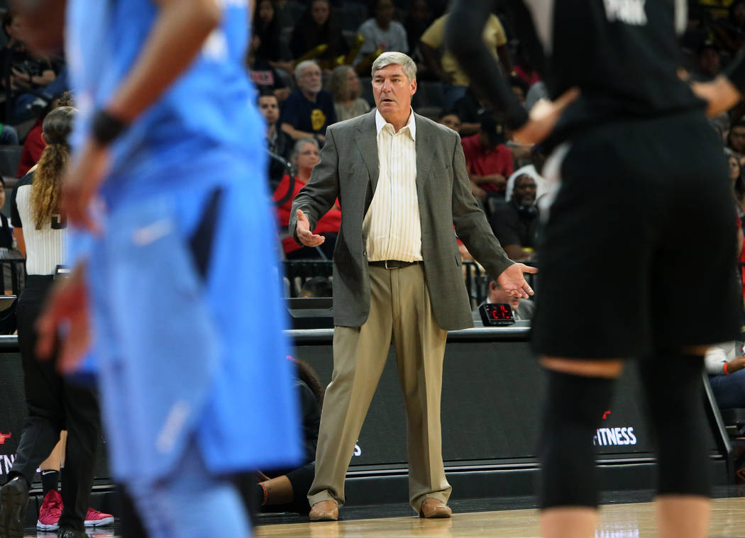 Las Vegas Aces head coach Bill Laimbeer watches the play in the first half of a WNBA basketball game against Atlanta Dream at the Mandalay Bay Event Center in Las Vegas on Friday, June 8, 2018. Bi ...