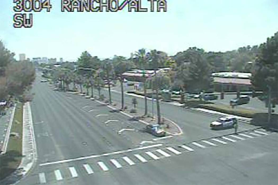 "Rancho Drive between Alta Drive and Palomino Lane is closed while police deal with am ""uncooperative"" driver, Friday afternoon. (RTC Fast Cameras)"