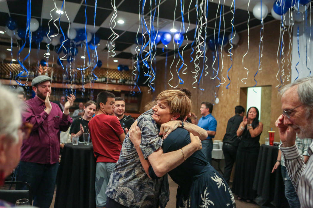 Democratic Congressional District 4 candidate Susie Lee is greeted during her election watch party at Saffron Flavors of India in Las Vegas Tuesday evening, June 14, 2016. (Elizabeth Brumley//Las ...