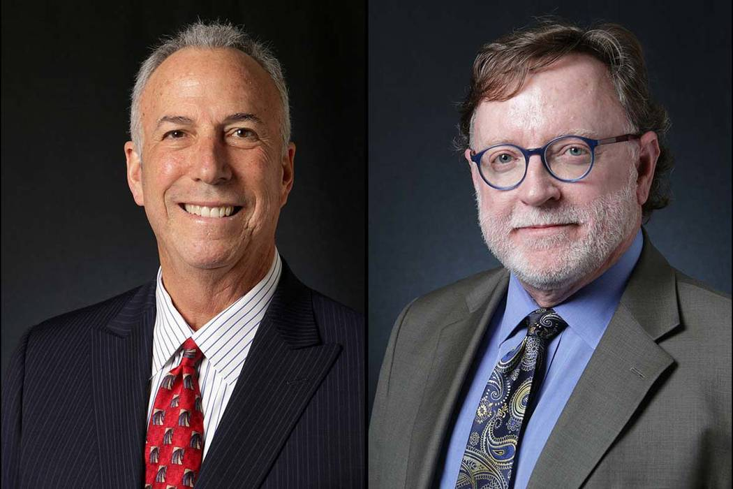 Steve Wolfson, left, and Robert Langford, Democratic candidates for Clark County district attorney (Las Vegas Review-Journal)