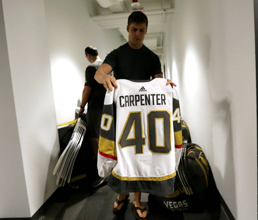 Vegas Golden Knights forward Ryan Carpenter, packs his sweater at City National Arena Friday, June 8, 2018, after falling to the Washington Capitals in the Stanley Cup Final Thursday. K.M. Cannon ...