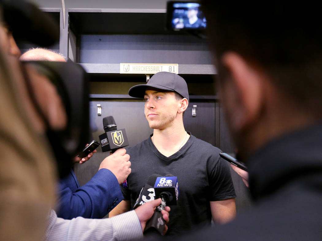 Vegas Golden Knights forward Jonathan Marchessault, center, talks to the news media at City National Arena Friday, June 8, 2018, after falling to the Washington Capitals in the Stanley Cup Final T ...