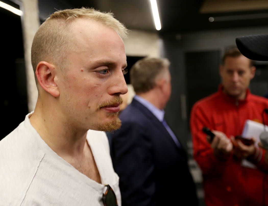 Vegas Golden Knights defenseman Nate Schmidt, talks to the news media at City National Arena Friday, June 8, 2018, after falling to the Washington Capitals in the Stanley Cup Final Thursday. K.M. ...