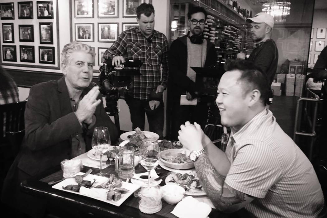 "Anthony Bourdain filming ""Parts Unknown"" with Jet Tila. (Facebook)"