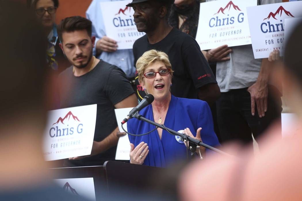 Clark County Commissioner Chris Giunchigliani announces her campaign for governor outside of Las Vegas Academy in downtown Las Vegas on Wednesday, Oct. 18, 2017. (Chase Stevens/Las Vegas Review-Jo ...