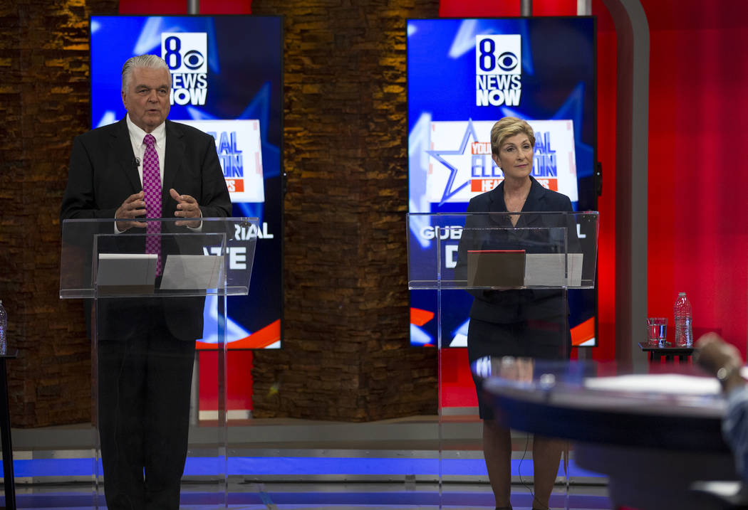 Democratic Gubernatorial candidates Steve Sisolak, left, and Chris Giunchigliani take part in live debate on KLAS-TV channel 8 in Las Vegas on Monday, May 21, 2018. Richard Brian Las Vegas Review- ...