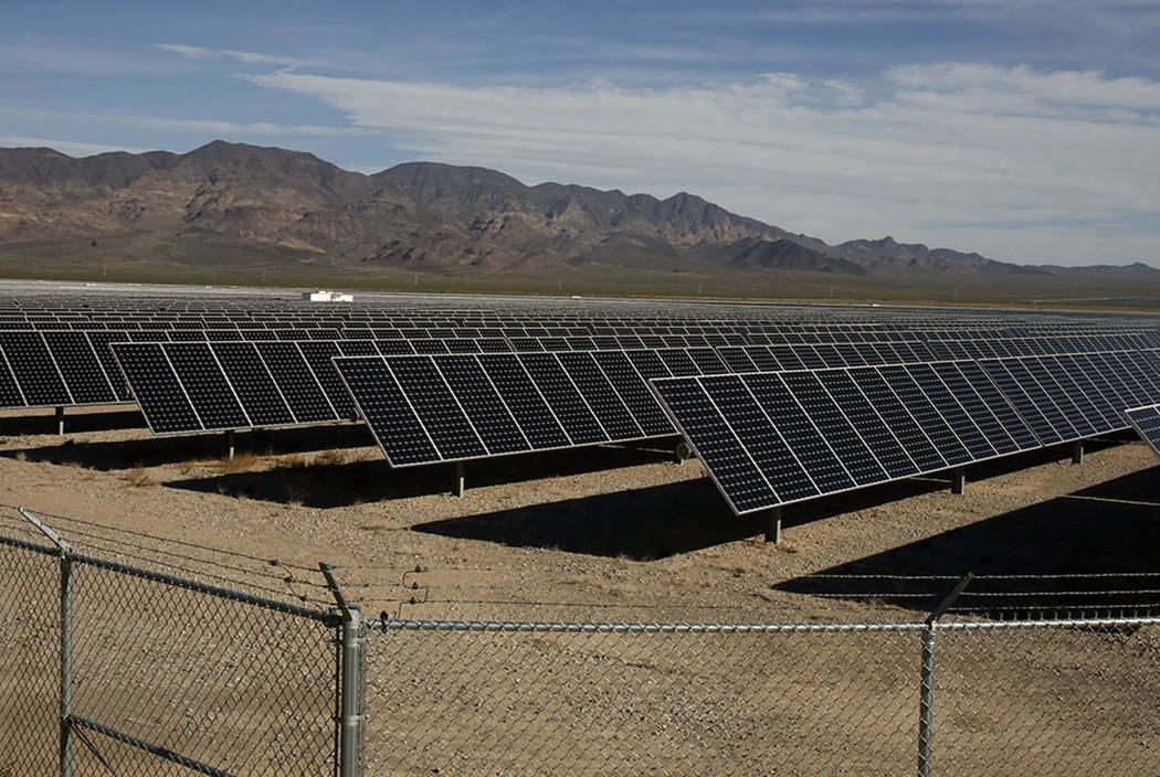 Copper Mountain Solar ll power plant is seen in El Dorado Valley on Thursday, May 31, 2018, in Boulder City. NV Energy has plans to add six new solar projects in Nevada. (Bizuayehu Tesfaye/Las Veg ...