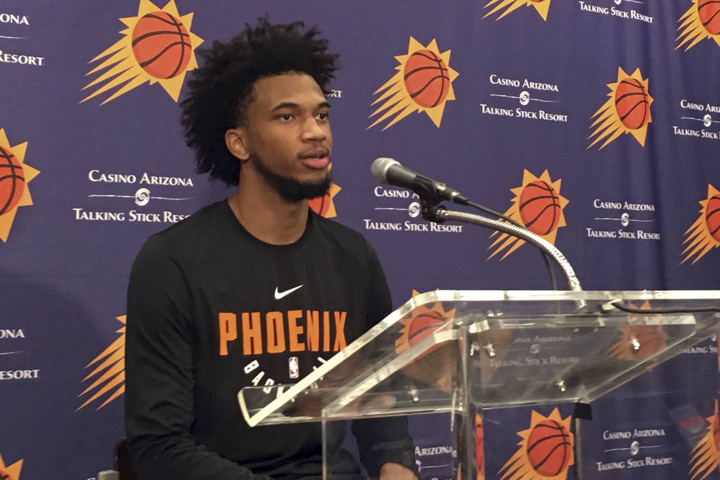 Phoenix Suns' Marvin Bagley III speaks after his individual NBA basketball workout Friday, June 8, 2018, in Phoenix. Bagley thinks he deserves to be at the top of the draft and got a chance to mak ...