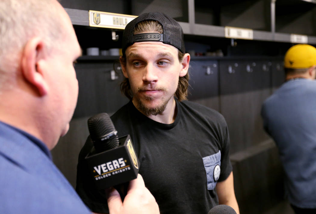 Vegas Golden Knights forward Erik Haula, talks to the news media at City National Arena Friday, June 8, 2018, after falling to the Washington Capitals in the Stanley Cup Final Thursday. K.M. Canno ...