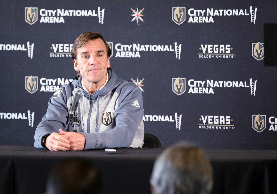Vegas Golden Knights General Manager George McPhee talks to the news media at City National Arena Friday, June 8, 2018, after falling to the Washington Capitals in the Stanley Cup Final Thursday. ...