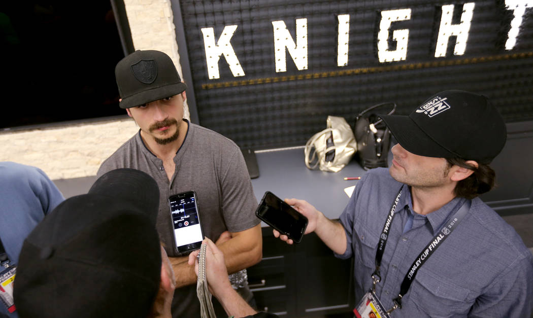 Vegas Golden Knights defenseman Luca Sbisa, top, talks to the news media at City National Arena Friday, June 8, 2018, after falling to the Washington Capitals in the Stanley Cup Final Thursday. K. ...