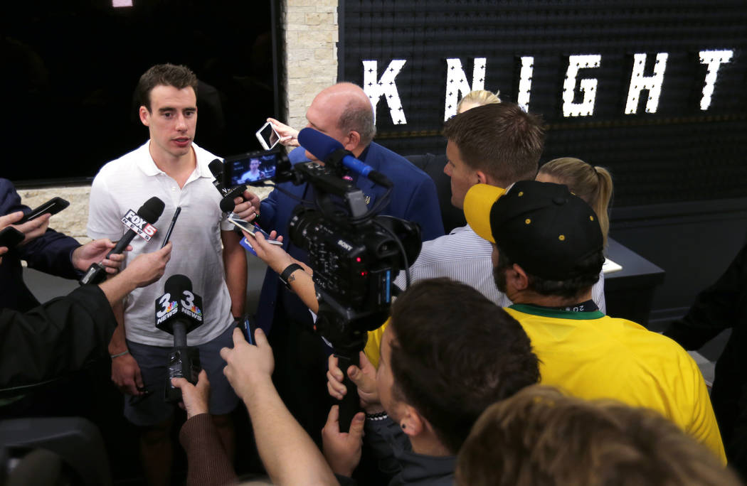 Vegas Golden Knights forward Reilly Smith, left, talks to the news media at City National Arena Friday, June 8, 2018, after falling to the Washington Capitals in the Stanley Cup Final Thursday. K. ...