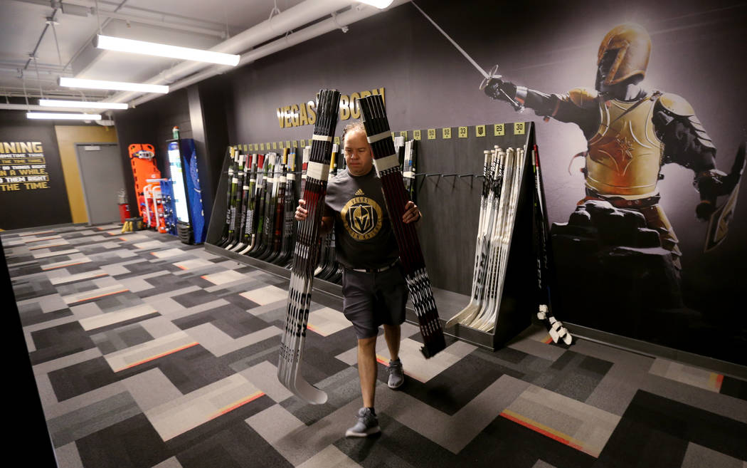 Chris Davidson-Adams, Vegas Golden Knights head equipment manager, loads sticks at City National Arena Friday, June 8, 2018, after the team fell to the Washington Capitals in the Stanley Cup Final ...