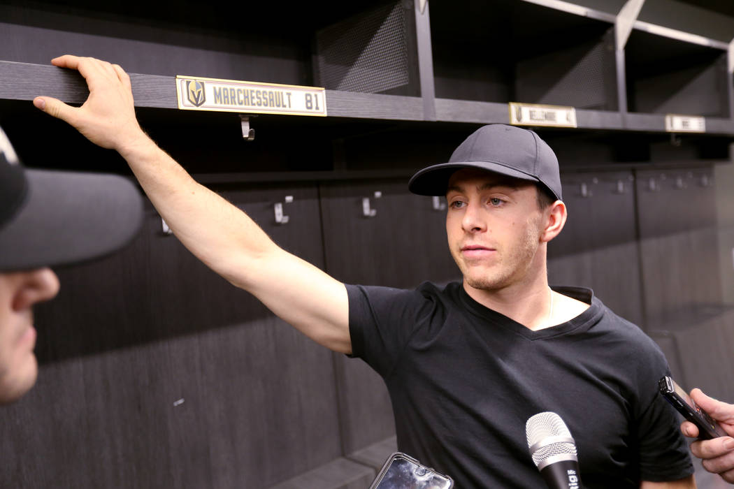 Vegas Golden Knights forward Jonathan Marchessault, talks to the news media at City National Arena Friday, June 8, 2018, after falling to the Washington Capitals in the Stanley Cup Final Thursday. ...