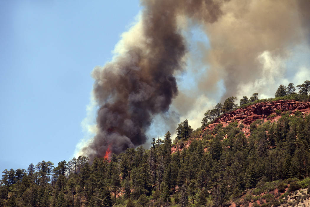 The 416 Fire burns north of Hermosa, Colo., 10 miles north of Durango, Thursday, June 7, 2018. (Claudia Laws/Durango Herald)