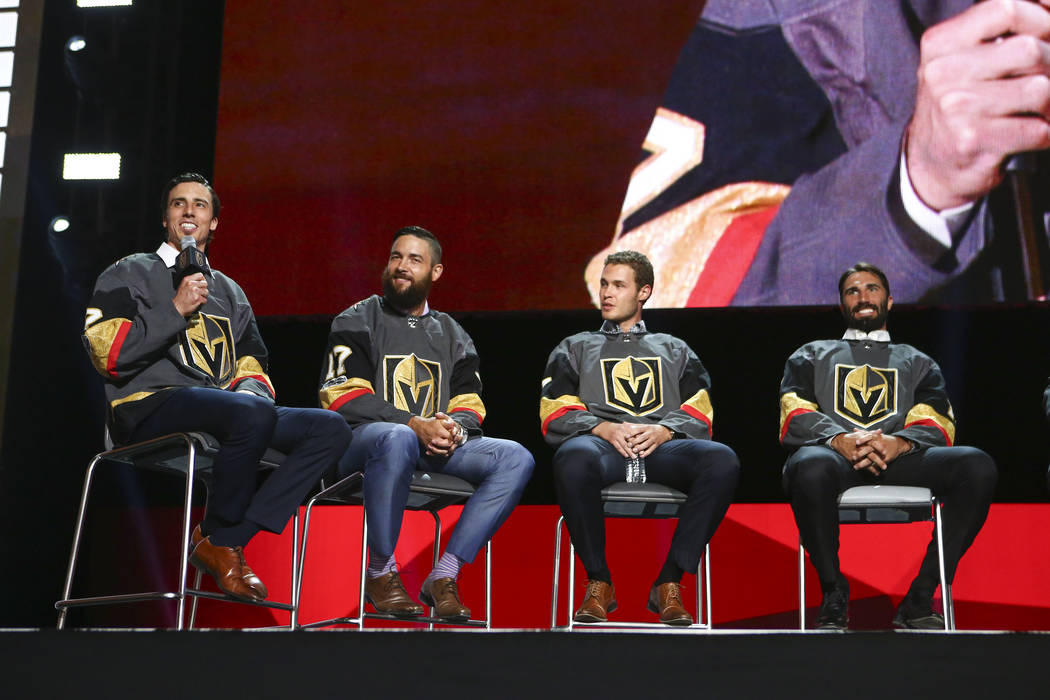 Vegas Golden Knights' Marc-Andre Fleury, left, speaks alongside fellow players Deryk Engelland, Brayden McNabb, and Jason Garrison during a roundtable following the NHL Awards and expansion draft ...