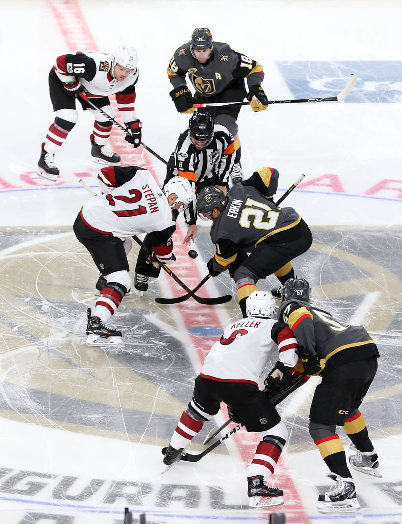 Vegas Golden Knights and the Arizona Coyotes as the puck drops in the Knight's NHL season home opener at T-Mobile Arena in Las Vegas, Tuesday, Oct. 10, 2017. Erik Verduzco Las Vegas Review-Journal ...