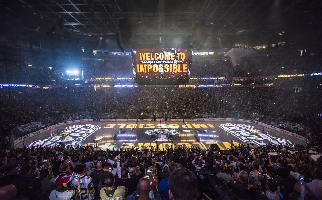 T-Mobile Arena is packed for Game 1 of the NHL Stanley Cup Finals before the start of the Golden Knights home matchup with the Washington Capitals on Monday, May 28, 2018, in Las Vegas. Benjamin H ...