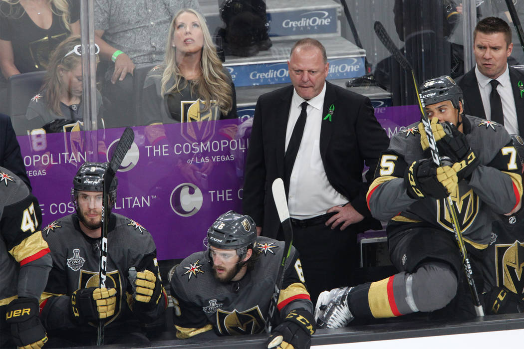 Vegas Golden Knights head coach Gerard Gallant during the second period in Game 2 of the NHL hockey Stanley Cup Final at T-Mobile Arena in Las Vegas, Wednesday, May 30, 2018. Erik Verduzco Las Veg ...