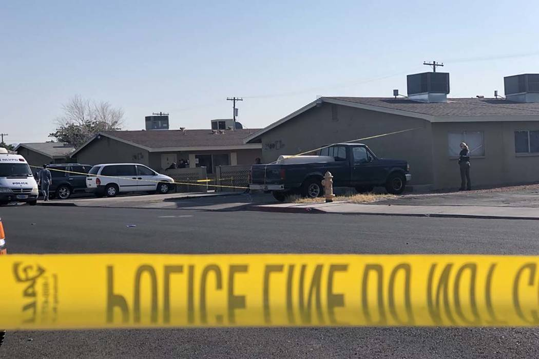 North Las Vegas police are investigating a homicide Saturday morning at the same location of Friday's triple shooting that left one man dead. (Rio Lacanale/Las Vegas Review-Journal) @bizutesfaye