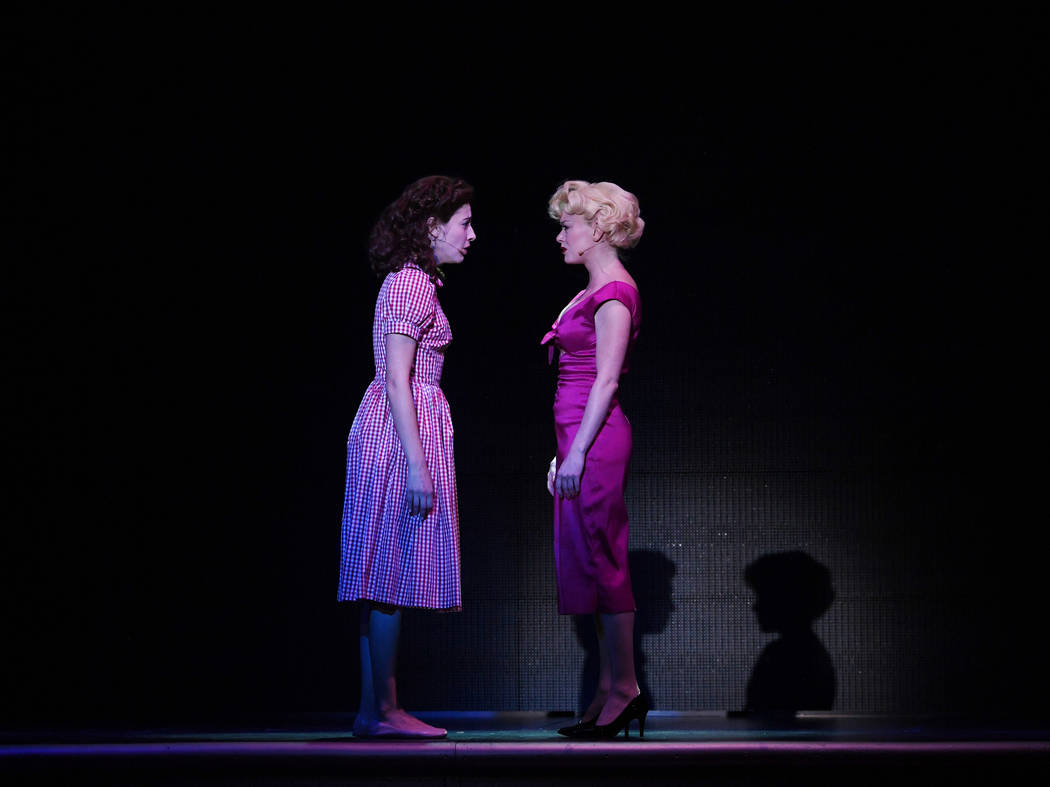 "Norma Jeane (Brittney Bertier) and the woman she became, Marilyn Monroe (Ruby Lewis) sing ""Don't Wanna Be Me"" in ""Marilyn!"" at Paris Las Vegas. (Denise Truscello)"