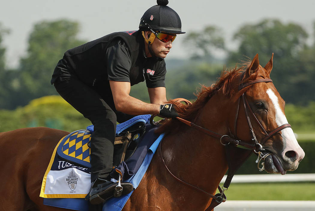 Justify gallops around the main track during a workout at Belmont Park, Friday, June 8, 2018, in Elmont, N.Y. (AP Photo/Julie Jacobson)