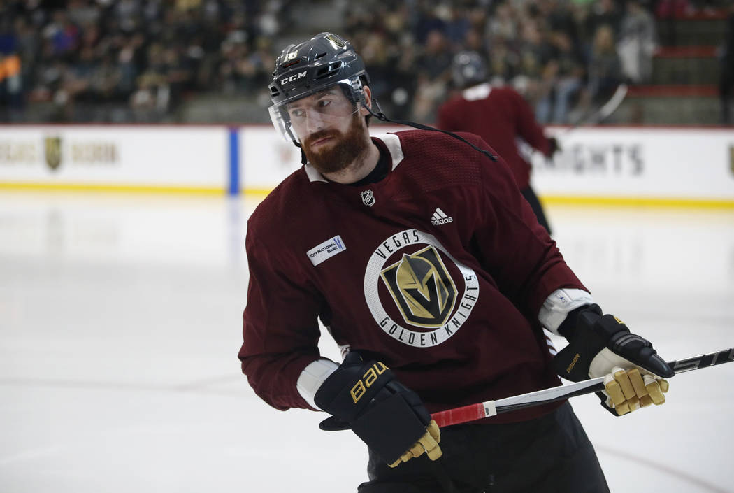 Vegas Golden Knights left wing James Neal during an NHL hockey practice, Sunday, May 27, 2018, in Las Vegas. (AP Photo/John Locher)