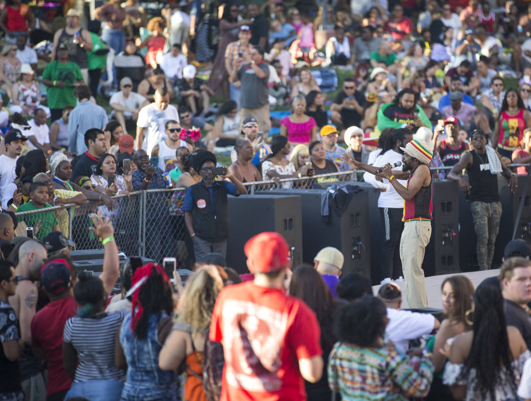 Fans listen to the sounds of Jamaican singer Cocoa Tea during Reggae in the Desert at the Clark County Amphitheater in downtown Las Vegas on Saturday, June 9, 2018. Richard Brian Las Vegas Review- ...
