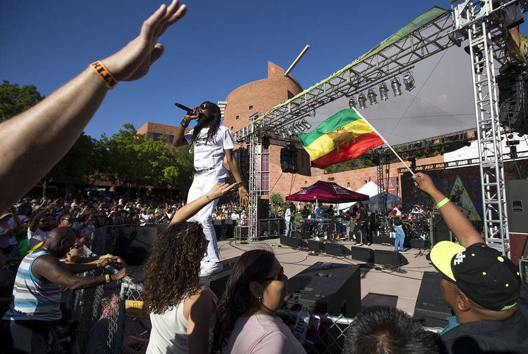 Jamaican musician Kabaka Pyramid performs during Reggae in the Desert at the Clark County Amphitheater in downtown Las Vegas on Saturday, June 9, 2018. Richard Brian Las Vegas Review-Journal @vega ...