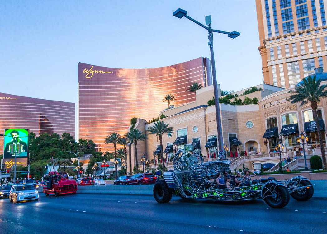 Art cars make their way down Las Vegas Boulevard near Spring Mountain Road as part of the Intergalactic Art Car Festival in Las Vegas on Saturday, June 9, 2018. Chase Stevens Las Vegas Review-Jour ...
