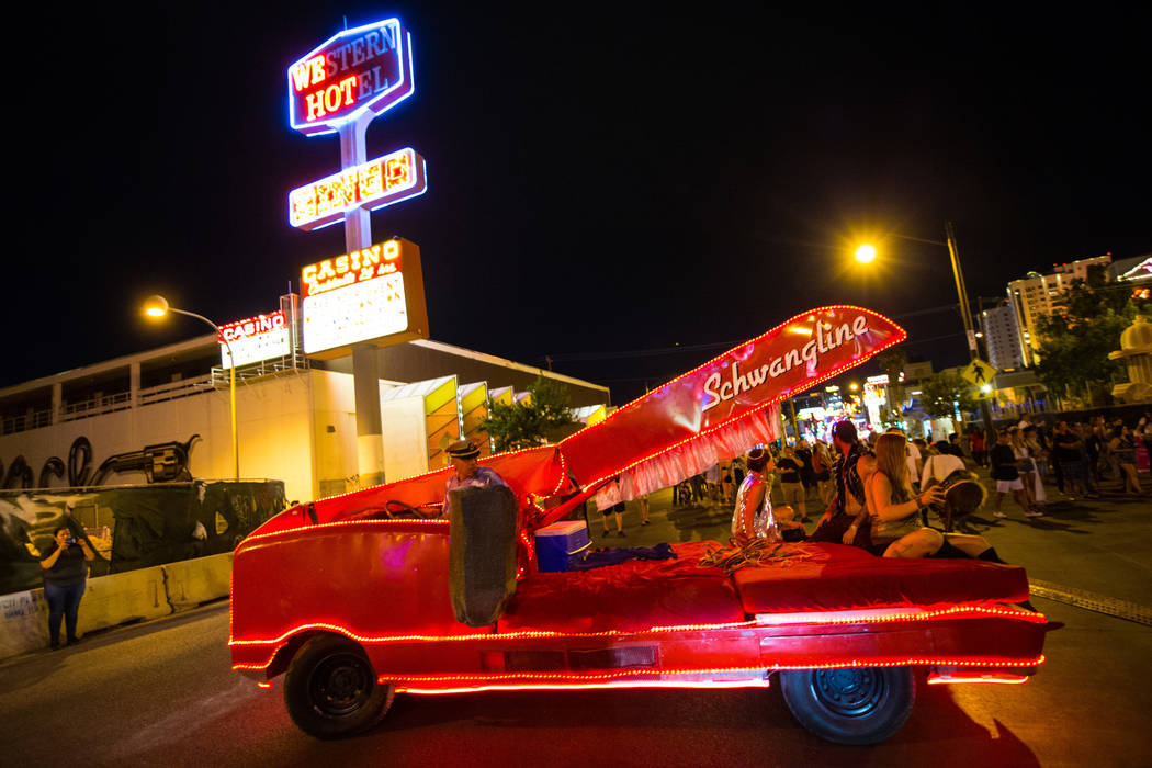 The Schwangline Stapler art car during the Intergalactic Art Car Festival in downtown Las Vegas on Saturday, June 9, 2018. Chase Stevens Las Vegas Review-Journal @csstevensphoto