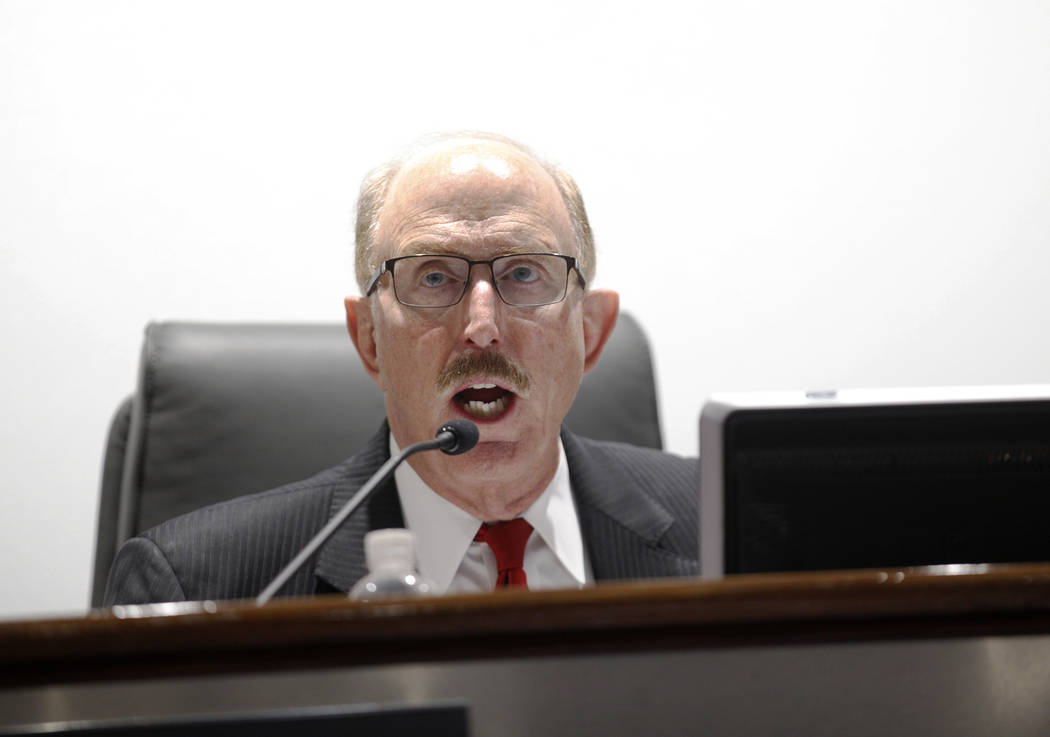 Las Vegas Convention and Visitors Authority board member Bill Noonan, who chairs the audit committee, speaks at a meeting at the Las Vegas Convention Center in Las Vegas, Tuesday, May 8, 2018. Ra ...
