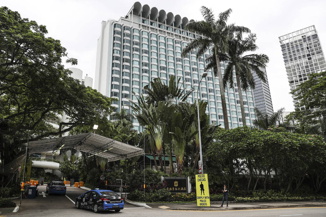 A security tent is set up at the entrance to the Shangri-La Hotel in Singapore, Sunday, June 10, 2018, ahead of the summit between U.S. President Donald Trump and North Korean leader Kim Jong Un. ...
