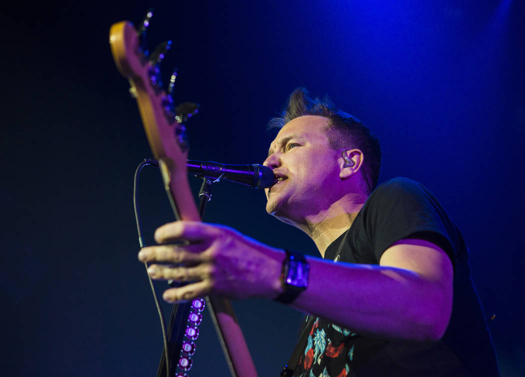 Mark Hoppus of Blink-182 performs as part of the band's residency at the Pearl at the Palms in Las Vegas on Friday, June 8, 2018. Chase Stevens Las Vegas Review-Journal @csstevensphoto