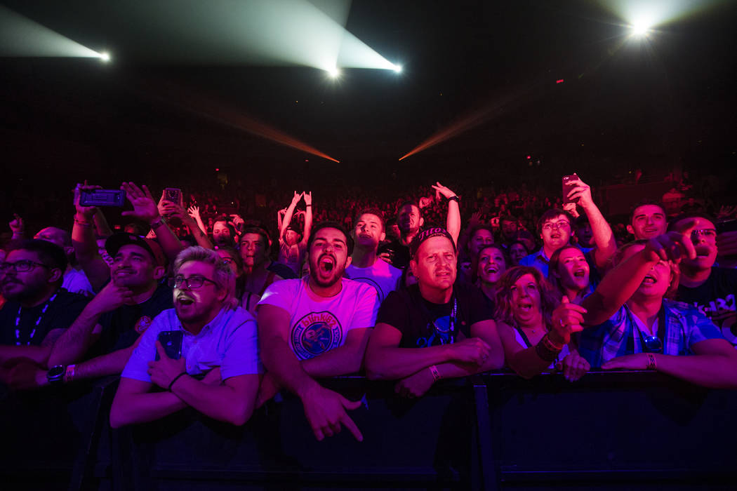 Fans react as Blink-182 performs as part of the their residency at the Pearl at the Palms in Las Vegas on Friday, June 8, 2018. Chase Stevens Las Vegas Review-Journal @csstevensphoto