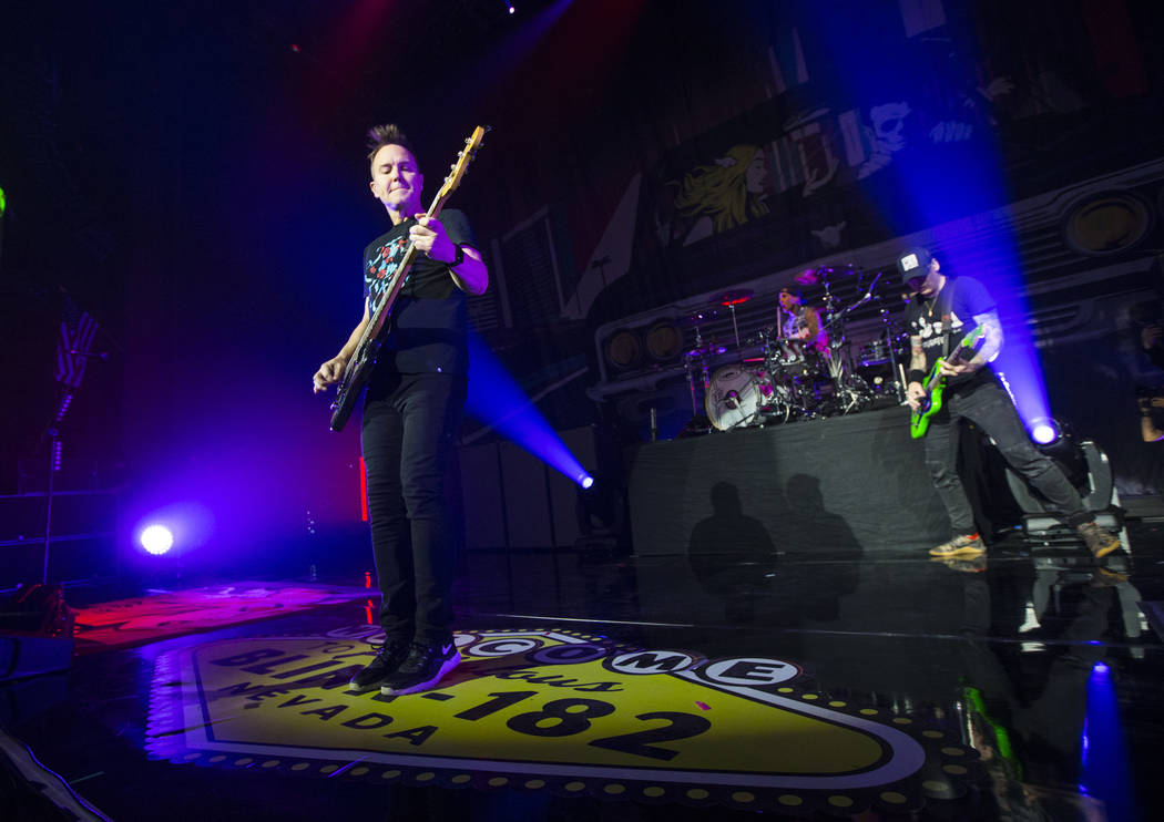 Blink-182 members, from left, Mark Hoppus, Travis Barker and Matt Skiba perform as part of the band's residency at the Pearl at the Palms in Las Vegas on Friday, June 8, 2018. Chase Stevens Las Ve ...