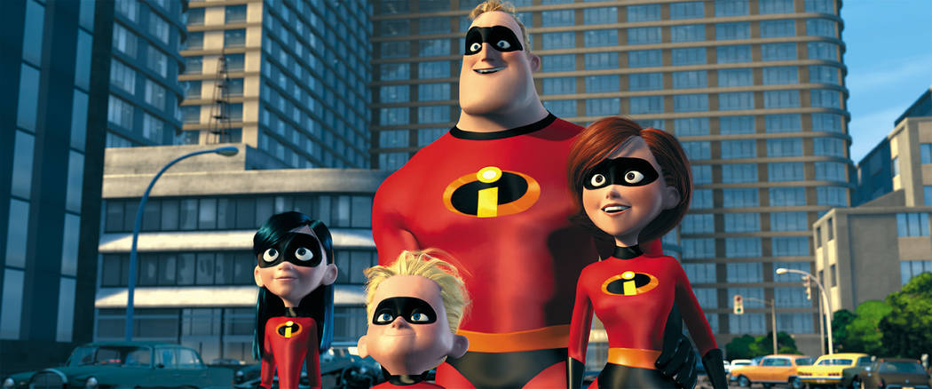 """From left, Violet, Dashiel, Mr. Incredible and Elastigirl from """"The Incredibles."""""""